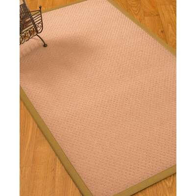 Farnham Border Hand-Woven Wool Pink/Khaki Area Rug Rug Size: Rectangle 5 x 8, Rug Pad Included: Yes
