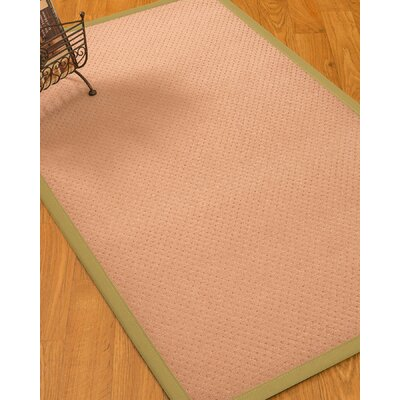 Farnham Border Hand-Woven Wool Pink/Sand Area Rug Rug Size: Rectangle 8 x 10, Rug Pad Included: Yes
