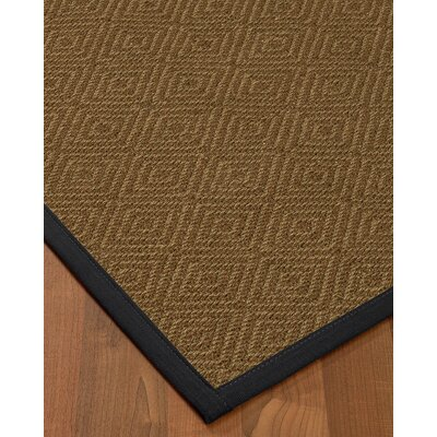 Magnuson Border Hand-Woven Brown/Midnight Blue Area Rug Rug Size: Rectangle 6 x 9, Rug Pad Included: Yes