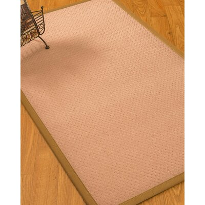 Farnham Border Hand-Woven Wool Pink/Khaki Area Rug Rug Size: Rectangle 9 x 12, Rug Pad Included: Yes