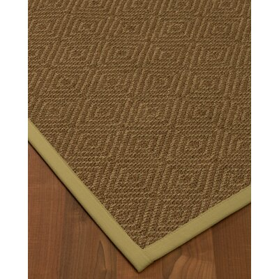 Magnuson Border Hand-Woven Brown/Natural Area Rug Rug Size: Rectangle 12 x 15, Rug Pad Included: Yes