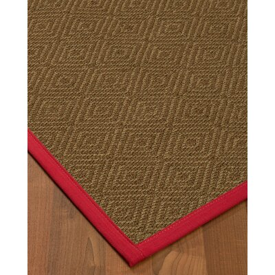 Magnuson Border Hand-Woven Brown/Red Area Rug Rug Size: Rectangle 9 x 12, Rug Pad Included: Yes