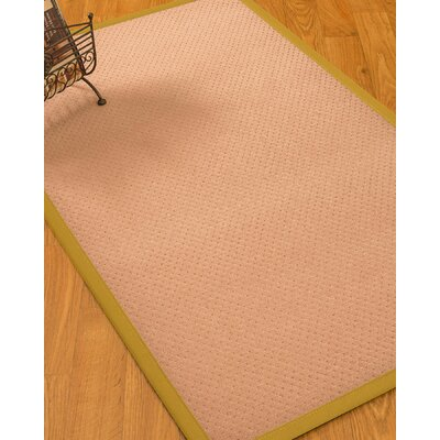 Farnham Border Hand-Woven Wool Pink/Khaki Area Rug Rug Size: Rectangle 4 x 6, Rug Pad Included: Yes