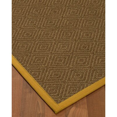 Magnuson Border Hand-Woven Brown/Tan Area Rug Rug Size: Rectangle 4 x 6, Rug Pad Included: Yes
