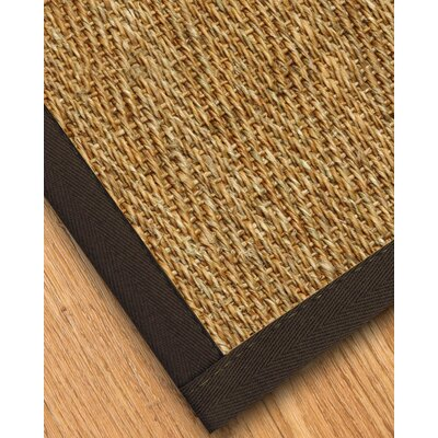 Maglio Border Hand-Woven Brown/Natural Area Rug Rug Size: Rectangle 6 x 9, Rug Pad Included: Yes