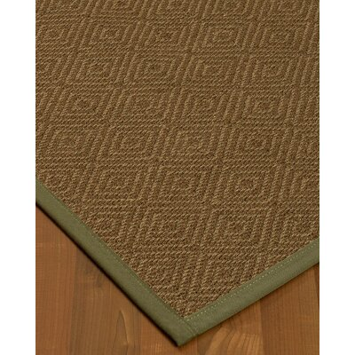 Magnuson Border Hand-Woven Brown/Green Area Rug Rug Size: Rectangle 12 x 15, Rug Pad Included: Yes