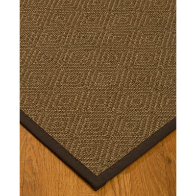 Magnuson Border Hand-Woven Brown Area Rug Rug Size: Rectangle 5 x 8, Rug Pad Included: Yes