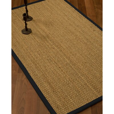 Vanmatre Border Hand-Woven Beige/Midnight Blue Area Rug Rug Size: Rectangle 12 x 15, Rug Pad Included: Yes
