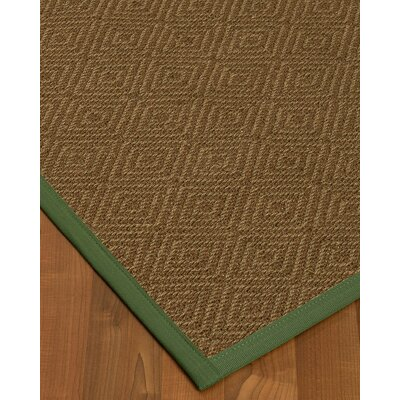 Magnuson Border Hand-Woven Brown/Green Area Rug Rug Size: Rectangle 5 x 8, Rug Pad Included: Yes