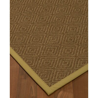 Magnuson Border Hand-Woven Brown/Khaki Area Rug Rug Size: Rectangle 5 x 8, Rug Pad Included: Yes