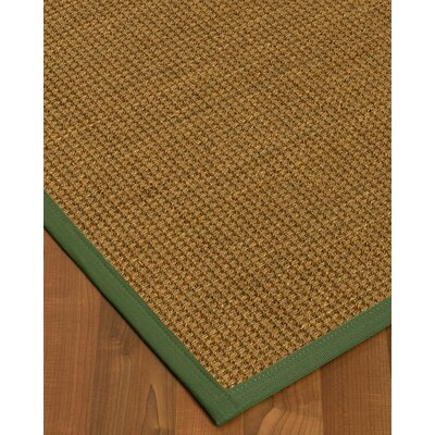 Chavez Border Hand-Woven Beige/Green Area Rug Rug Size: Rectangle 12 x 15, Rug Pad Included: Yes