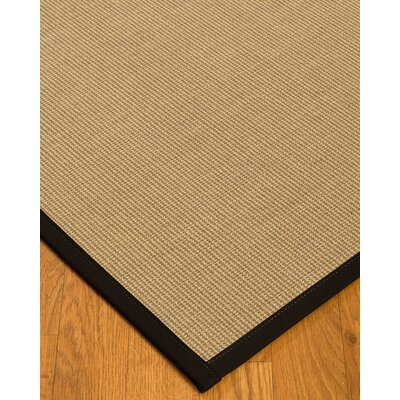 Atwell Border Hand-Woven Beige/Black Area Rug with Free Rug Pad