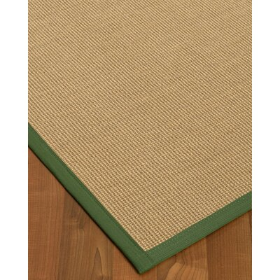 Atwell Border Hand-Woven Beige/Green Area Rug Rug Size: Rectangle 12 x 15, Rug Pad Included: Yes