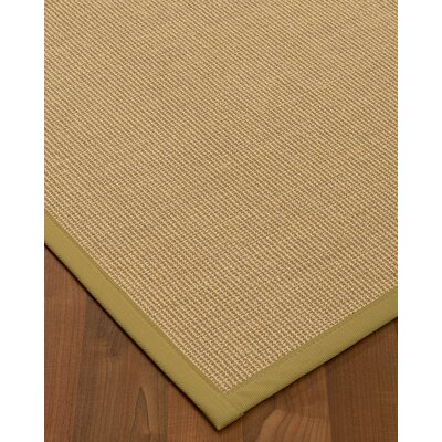 Atwell Border Hand-Woven Beige/Khaki Area Rug Rug Size: Runner 26 x 8, Rug Pad Included: No