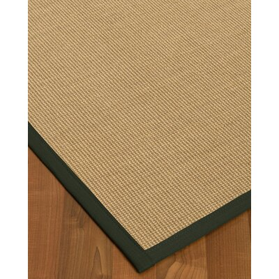Atwell Border Hand-Woven Beige/Green Area Rug Rug Size: Rectangle 9 x 12, Rug Pad Included: Yes