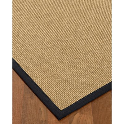 Atwell Border Hand-Woven Beige/Midnight Blue Area Rug Rug Size: Runner 26 x 8, Rug Pad Included: No
