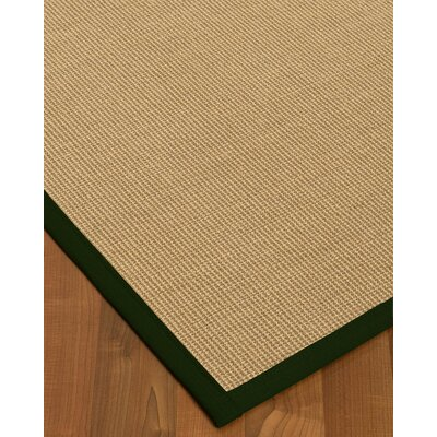 Atwell Border Hand-Woven Beige/Moss Area Rug Rug Size: Rectangle 12 x 15, Rug Pad Included: Yes