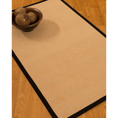 Vanmeter Border Hand-Woven Wool Beige/Black Area Rug Rug Size: Rectangle 6 x 9, Rug Pad Included: Yes