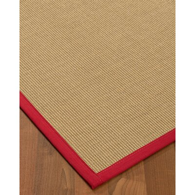 Atwell Border Hand-Woven Beige/Red Area Rug Rug Size: Rectangle 9 x 12, Rug Pad Included: Yes
