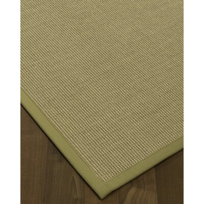 Atwell Border Hand-Woven Olive Area Rug Rug Size: Rectangle 12 x 15, Rug Pad Included: Yes