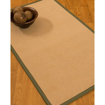 Vanmeter Border Hand-Woven Wool Beige/Fossil Area Rug Rug Size: Rectangle 5 x 8, Rug Pad Included: Yes