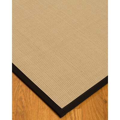 Vannatta Border Hand-Woven Wool Beige/Black Area Rug Rug Size: Rectangle 9 x 12, Rug Pad Included: Yes