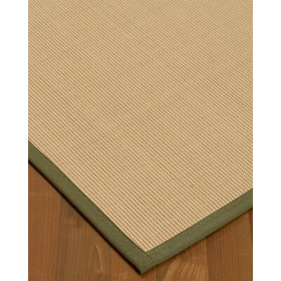 Vannatta Border Hand-Woven Wool Beige/Green Area Rug Rug Size: Rectangle 9 x 12, Rug Pad Included: Yes