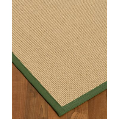 Vannatta Border Hand-Woven Wool Beige/Green Area Rug Rug Size: Rectangle 2' x 3', Rug Pad Included: No