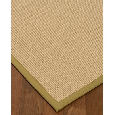 Vannatta Border Hand-Woven Wool Beige Area Rug Rug Size: Rectangle 9 x 12, Rug Pad Included: Yes