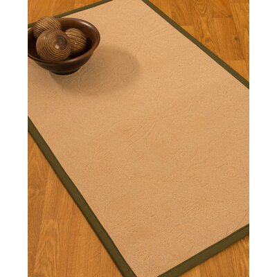 Vanmeter Border Hand-Woven Wool Beige/Malt Area Rug with Free Rug Pad