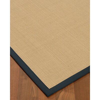 Vannatta Border Hand-Woven Wool Beige/Marine Area Rug Rug Size: Rectangle 6 x 9, Rug Pad Included: Yes