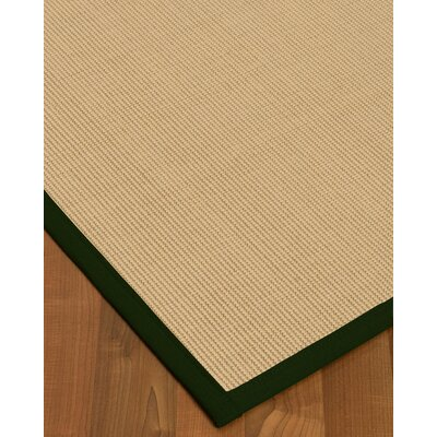 Vannatta Border Hand-Woven Wool Beige/Moss Area Rug Rug Size: Rectangle 9 x 12, Rug Pad Included: Yes