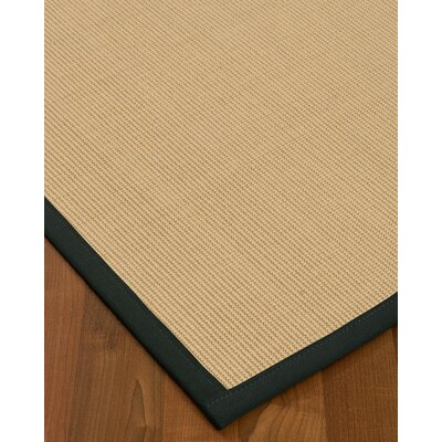 Vannatta Border Hand-Woven Wool Beige/Onyx Area Rug Rug Size: Rectangle 9 x 12, Rug Pad Included: Yes