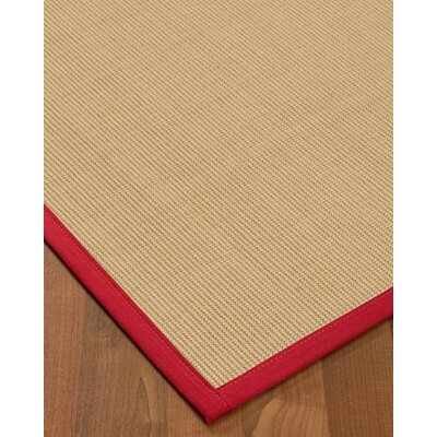 Vannatta Border Hand-Woven Wool Beige/Red Area Rug Rug Size: Rectangle 9 x 12, Rug Pad Included: Yes