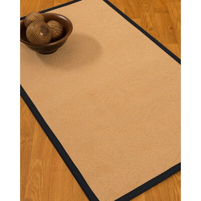 Vanmeter Border Hand-Woven Wool Beige/Midnight Blue Area Rug Rug Size: Rectangle 4 x 6, Rug Pad Included: Yes