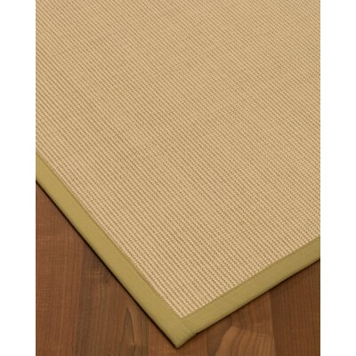Vannatta Border Hand-Woven Wool Beige/Green Area Rug Rug Size: Rectangle 5 x 8, Rug Pad Included: Yes