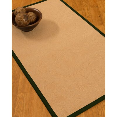 Vanmeter Border Hand-Woven Wool Beige/Moss Area Rug Rug Size: Rectangle 5 x 8, Rug Pad Included: Yes