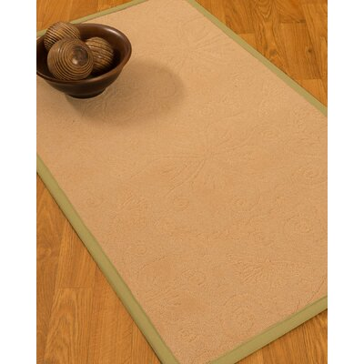 Vanmeter Border Hand-Woven Wool Beige/Green Area Rug Rug Size: Rectangle 9 x 12, Rug Pad Included: Yes