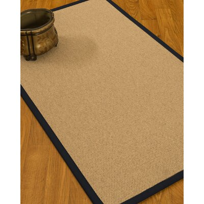 Chavira Border Hand-Woven Wool Beige/Midnight Blue Area Rug Rug Size: Rectangle 9 x 12, Rug Pad Included: Yes