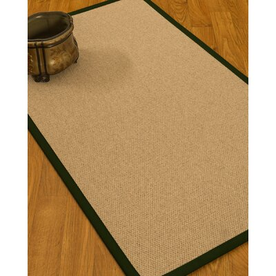 Chavira Border Hand-Woven Wool Beige/Moss Area Rug Rug Size: Rectangle 5 x 8, Rug Pad Included: Yes