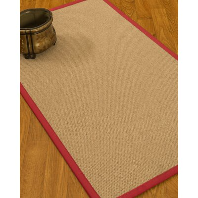 Chavira Border Hand-Woven Wool Beige/Red Area Rug Rug Size: Rectangle 5 x 8, Rug Pad Included: Yes