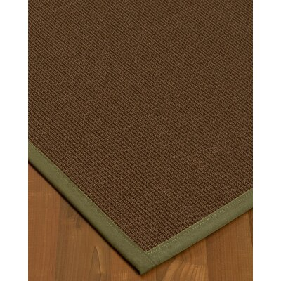 Heider Border Hand-Woven Brown/Fossil Area Rug Rug Size: Rectangle 6 x 9, Rug Pad Included: Yes