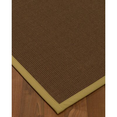 Heider Border Hand-Woven Brown/Beige Area Rug Rug Size: Rectangle 3 x 5, Rug Pad Included: No