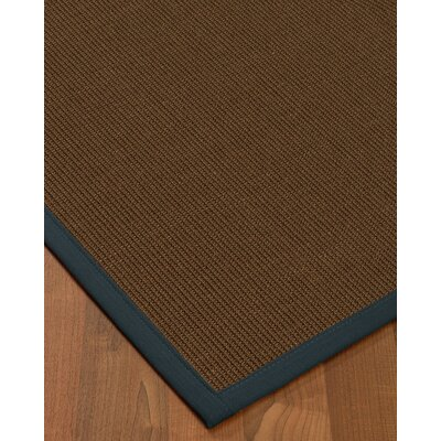 Heider Border Hand-Woven Brown/Marine Area Rug Rug Size: Rectangle 5 x 8, Rug Pad Included: Yes