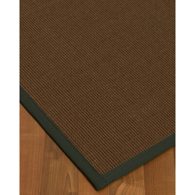 Heider Border Hand-Woven Brown/Green Area Rug Rug Size: Rectangle 4 x 6, Rug Pad Included: Yes