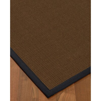 Heider Border Hand-Woven Brown/Midnight Blue Area Rug Rug Size: Rectangle 5 x 8, Rug Pad Included: Yes