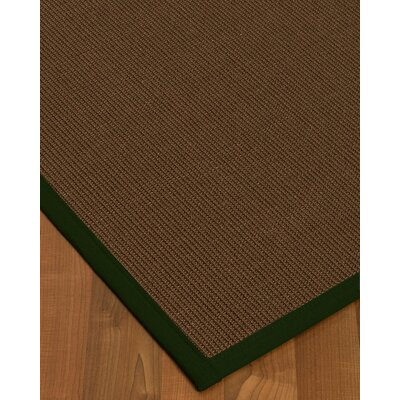 Heider Border Hand-Woven Brown/Moss Area Rug Rug Size: Rectangle 6 x 9, Rug Pad Included: Yes