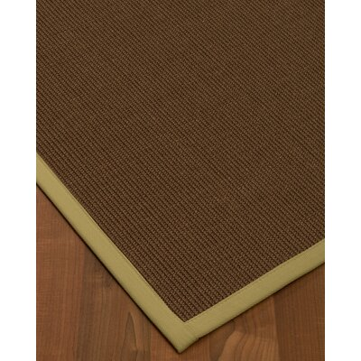 Heider Border Hand-Woven Brown/Natural Area Rug Rug Size: Rectangle 12 x 15, Rug Pad Included: Yes