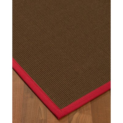Heider Border Hand-Woven Brown/Red Area Rug Rug Size: Rectangle 4 x 6, Rug Pad Included: Yes