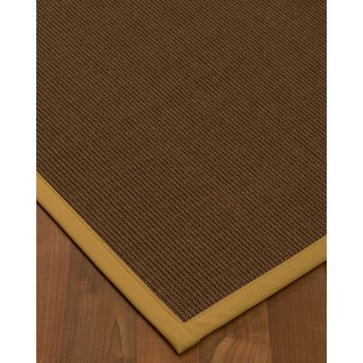 Heider Border Hand-Woven Brown/Khaki Area Rug Rug Size: Rectangle 9 x 12, Rug Pad Included: Yes